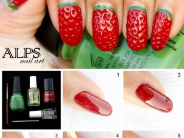 a8732 strawberry nails 360x270 - Super Easy Fruit Nail Tutorials To Try This Summer